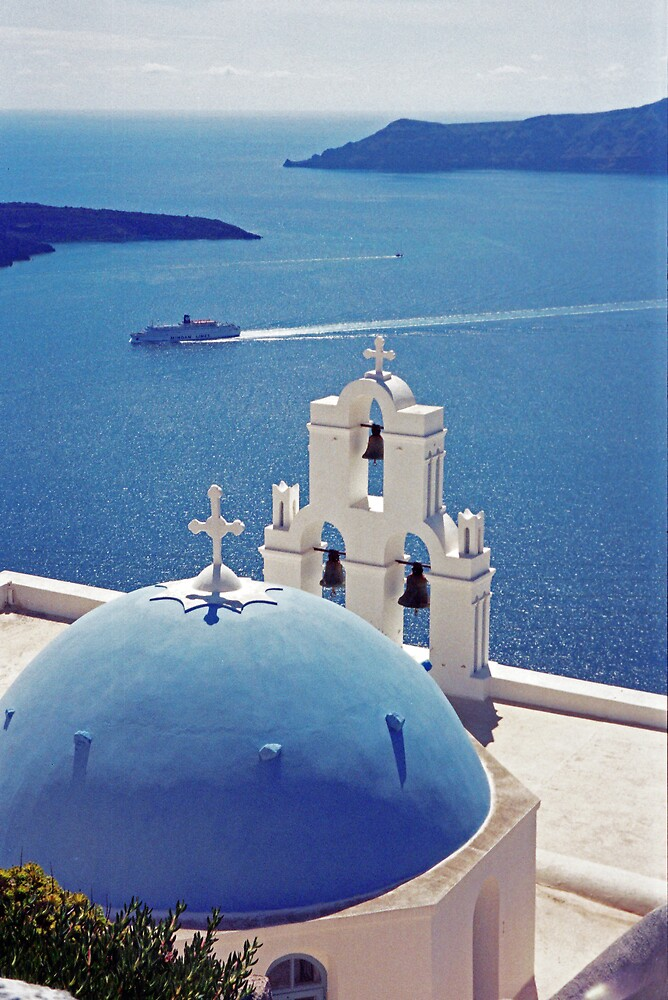 The Blue Dome, Santorini by Leigh Penfold
