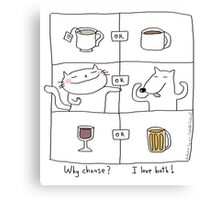 Why choose ? I love both ! / Cat (& dog) doodle Canvas Print