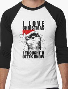 Christmas Otter Men's Baseball ¾ T-Shirt