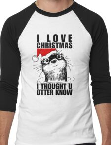 Christmas Otter Men's Baseball ¾ T-Shirt