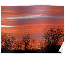 Red and Blazing Sunset Poster