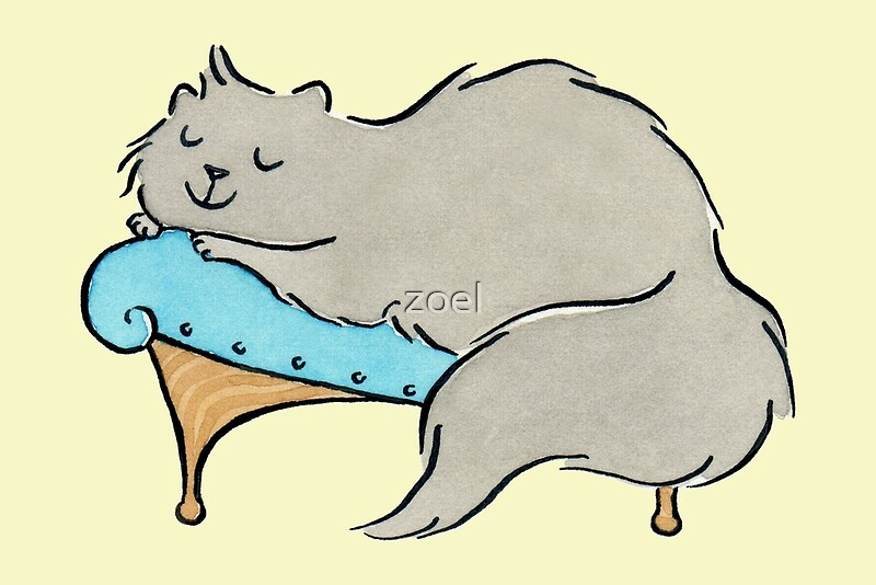 Luxury grey cat on chaise longue greeting cards by zoe for Cat chaise longue