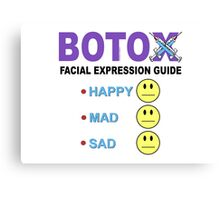 BOTOX - Facial Expression Guide (for light colors) Canvas Print