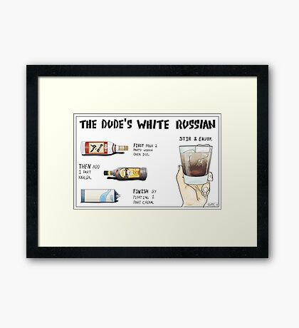 The Dude's White Russian Framed Print