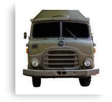 Isolated Army Truck From Front Canvas Print