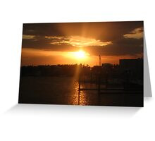 sunset over harbour Greeting Card