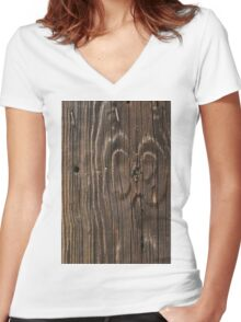 Weathered Wood  Women's Fitted V-Neck T-Shirt