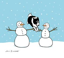 Winter Fun Border Collie by Jenn Inashvili