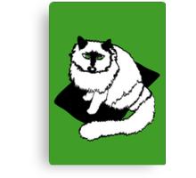 White Cat on Black Mat Canvas Print