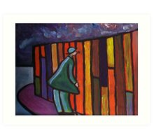 A man looking through  a hole in the fence Art Print