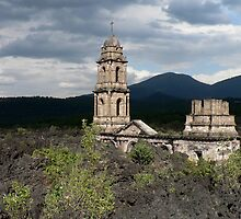 Church buried in lava, Uruapan, Mexico. by Peter Fletcher
