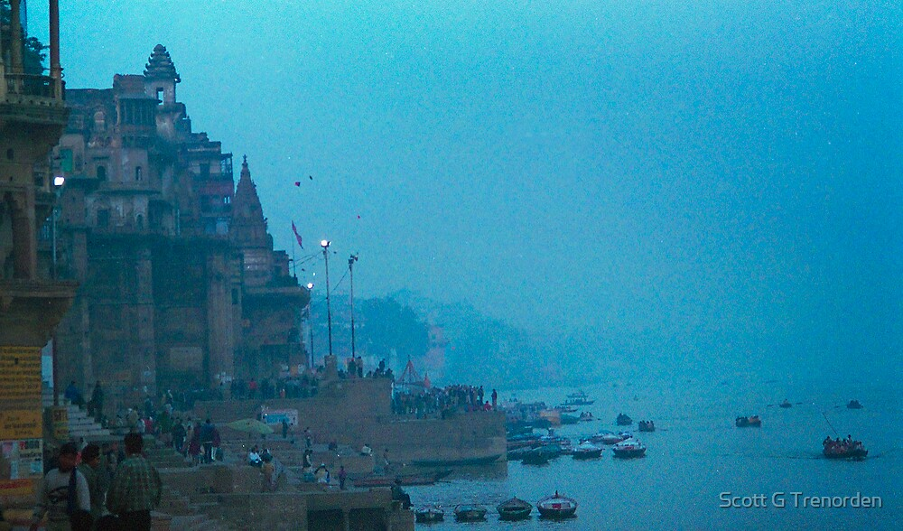 Hazy Blue Dusk - Varanasi Ghats, India by Scott G Trenorden