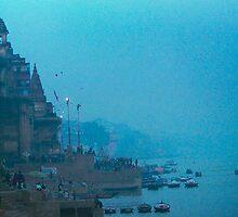 Hazy Blue Dusk - Varanasi Ghats, India by Scott G Trenorden