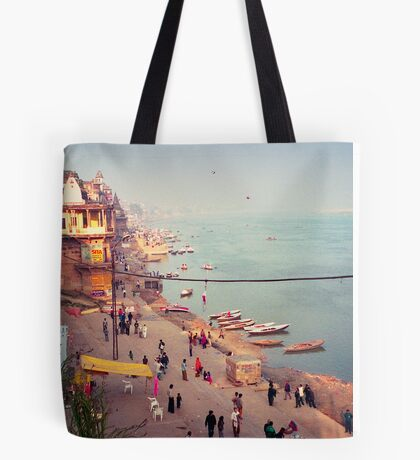 Life on the Ghats of Varanasi - Varanasi, India Tote Bag