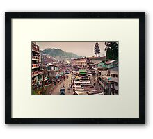 The Snaking Streets of the Cloud City - Gantok city, Sikkim, India Framed Print