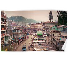 The Snaking Streets of the Cloud City - Gantok city, Sikkim, India Poster