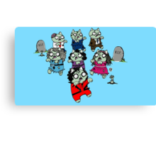 Zombie Thriller Cats Canvas Print