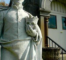 Statue holding skull by Matt Ferrell