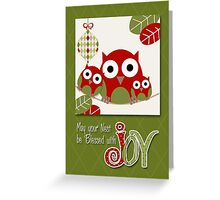 Trendy Owl Family Wishing Christmas Joy  Greeting Card
