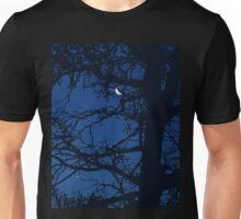 Crescent Moon Silhouette Tree Blue Night Sky Unisex T-Shirt