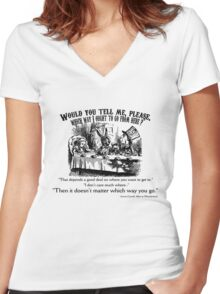 Alice in Wonderland Quote. Women's Fitted V-Neck T-Shirt