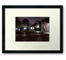Sprinklers at Night Framed Print