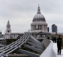 St Paul's Cathedral and Millenium Bridge. London by Leigh Penfold