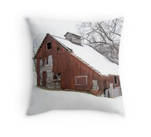 Red Barn White Snow Throw Pillow