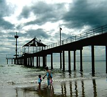 Storm clouds approaching, Brighton Beach by Roz McQuillan