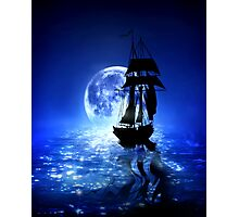 Ocean Moonlight Photographic Print