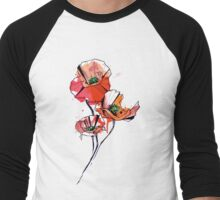 Geometric Watercolor Poppies Men's Baseball ¾ T-Shirt