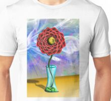 Single Flower with Smoke Cloud Background Burst Unisex T-Shirt