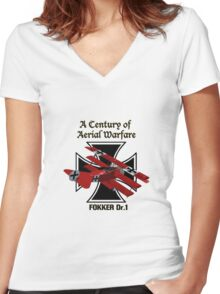 Fokker Dr.1 A Century of Aerial Warfare Women's Fitted V-Neck T-Shirt