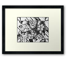 black and white abstract drawing, pen and ink Framed Print