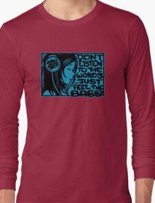 Headphone Girl Blue Long Sleeve T-Shirt