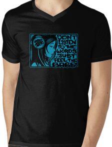 Headphone Girl Blue Mens V-Neck T-Shirt