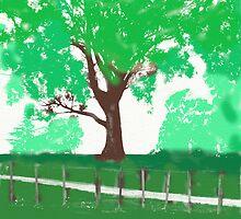 tree behind fence by Brenda Anderson