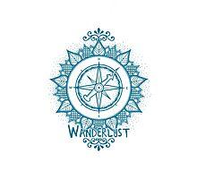 Wanderlust Compass Design - Blue Photographic Print