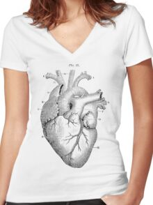 Anatomical Heart Women's Fitted V-Neck T-Shirt