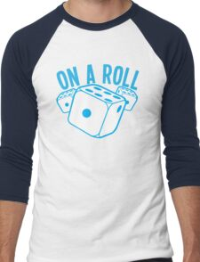 On a roll! lucky dice in blue Men's Baseball ¾ T-Shirt