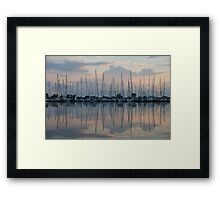 Pastel Sailboats Reflections at Dusk Framed Print