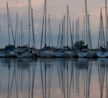 Pastel Sailboats Reflections at Dusk Sticker