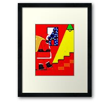 SANTA ON THE STAIRS Framed Print