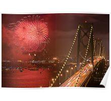 Bay Bridge Fireworks Poster