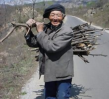 Old Man with Firewood by KLiu