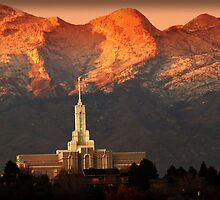 Mount Timpanogos Temple Fiery Sunset by Ryan Houston