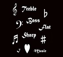 I ♥ Music (Style 2 White on Dark T-shirts) by C J Lewis