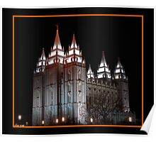 Salt Lake Temple at Night Poster