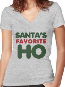 SANTAS favorite HO Women's Fitted V-Neck T-Shirt