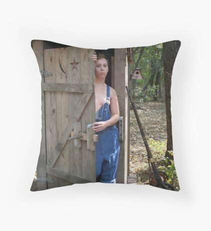 Hillbilly Redneck and friend Throw Pillow